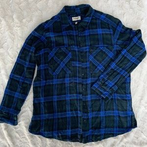 Express Boyfriend Flannel Button-Up Top Size L